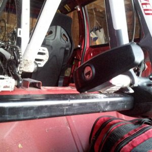 Yakima Dead Lock fork mounts. Carbon racing seats in the background